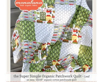 Monaluna Urban Patch Super Simple Patchwork Quilt Kit - Comes with Pattern, Batting, and All Organic Cotton Fabrics