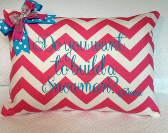 Do you want to build a Snowman Pink Chevron Embroidered Pillow Cover