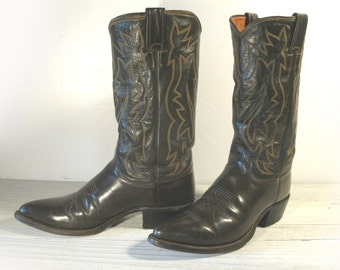 Vintage Cowboy Boots, Justin Brown All Leather Flat Top, Men's 9 D