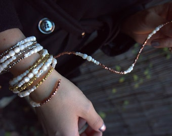 Jacqueline Wrap Bracelet / Mother of Pearl & Metal