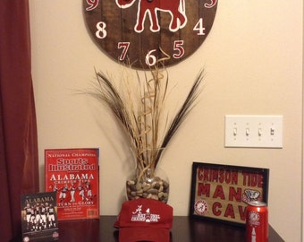 Collegiate wooden wall clock/customizable wood wall clock