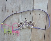 Couture Crown with Lavender Purple Rhinestones on Skinny Headband Photography Prop for Newborns, Girls, Babies, Toddlers