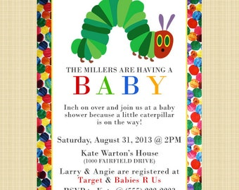 The Very Hungry Caterpillar - Baby Shower Invitation - Digital or printed