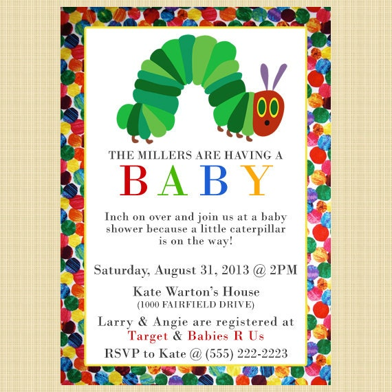 hungry caterpillar baby shower invitations