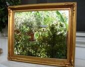 antique,gilt wooden frame/mirror-24'' x 20.5''ornate corners & wooden bead trim