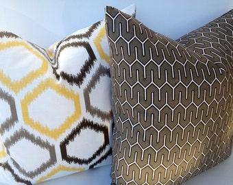 SALE-Geometric 20X20 Pillow Cover Home Decor Fabric-Grey-White-Black-Throw Pillow-Toss Pillow-Honeycomb