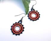 Handmade Orange and Black Earrings