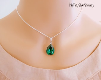 Emerald Necklace Green Emerald NecklaceTeardrop Necklace Sterling Silver Necklace Wedding Jewelry