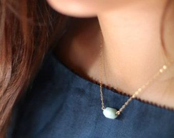 Minimalist stone choker - 14k gold filled chain - mint green amazonite stone necklace - modern simple jewelry