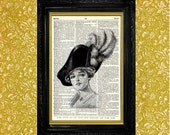 Edwardian Hat with Ostrich Feathers Illustration, Upcycled Vintage Book Page, Vintage Book Page Art Print,
