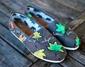 Hand Painted Ash Grey Toms  Classics featuring whimsical fall feathers and a custom quote - customizable