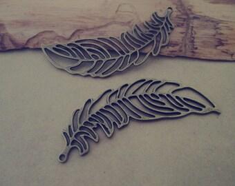 10pcs Antique bronze  feather Pendant charm 20mmx65mm