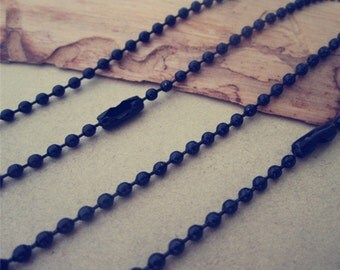 20pcs 1.5mm  27inch black  ball necklace chain with matching connector