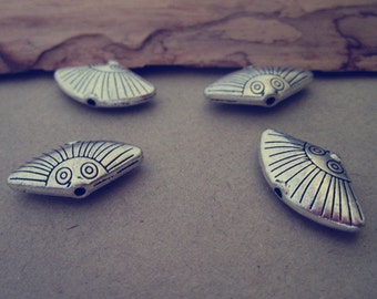 10pcs Antique silver fan pendant Charms 10mmx21mm