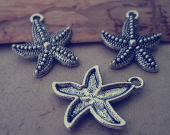 20pcs Antique silver starfish pendant charm 19mm