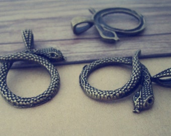 10pcs antique Bronze snake Charms pendant 30mmx36mm