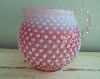 Fenton Pitcher, Fenton Hobnail, Fenton Cranberry Pitcher, Fenton Glass