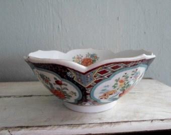 SALE 22.00 Signed Imari Ware Japan Asian Zen Decorative Lotus Serving Bowl