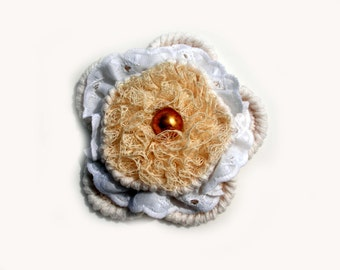 Flower pin brooch, crocheted, textile, boho vintage style.