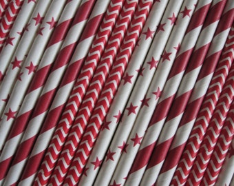 25 or 50 Red/Ruby Red Straws