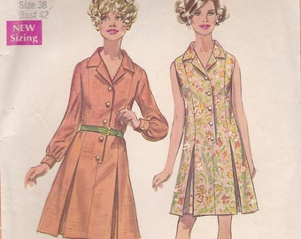 1960s Day Dress Pattern with Pleats Simplicity 8003 Size 16