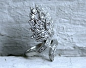 RESERVED - Dramatic Vintage Deco 14K White Gold Pave Diamond Ring 1.12ct.