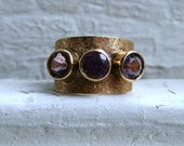 Retro 14K Yellow Gold Amethyst Three Stone Ring.