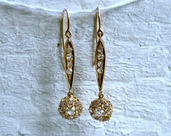 Antique Victorian 15K Yellow Gold Diamond Chandelier Earrings - 1.70ct.