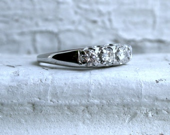 Art Deco Vintage 14K White Gold Diamond Wedding Band - 0.60ct.