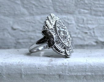 Vintage 14K White Gold Diamond Navette Ring - 0.81ct.