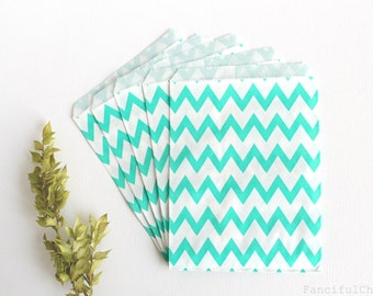 24 Aqua Chevron Flat Paper Bags 5X7 inch Party Favors, Wedding Favors, Birthday, Baby Shower, Bridal, Bakery
