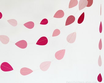 Pink Rain Drops Shower 10 ft Paper Garland- Wedding, Birthday, Bridal Shower, Baby Shower, Party Decorations
