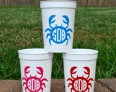 5 Monogrammed crab party Favor cups