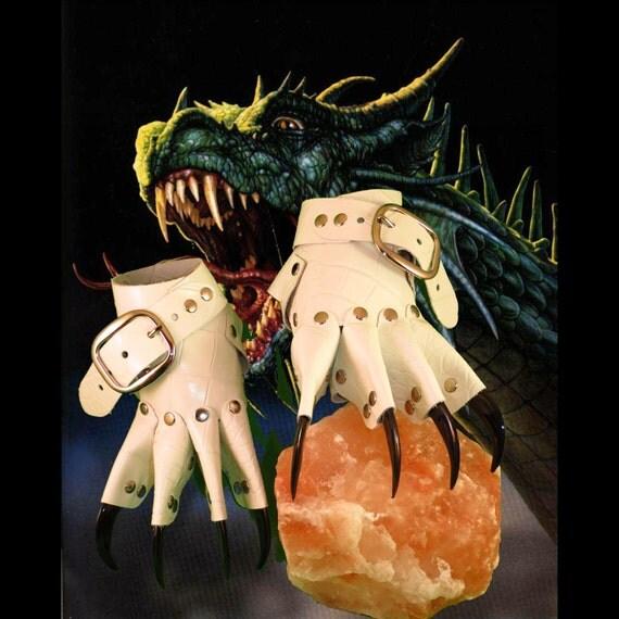 White Dragon Skin Black Claw Gauntlets / Gloves Gothic Steampunk BDSM Renaissance