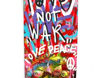 FREE SHIPPING abstract love street art canvas fine art acrylic spray paint graffiti peace make love not war anti war sculpture cans art