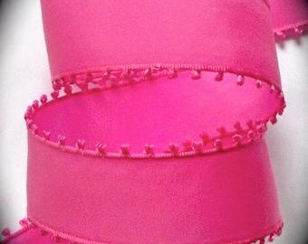 "Picot Edge Taffeta Ribbon 1"" - Pink - Nylon   - Sale"