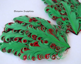 CLEARANCE Christmas - 1 Curly Nagorie Feather Pad - Goose Feather Pad - Emerald Green on Red - Holiday Supplies - DIY Headband & Hat Supply