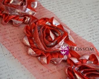 CLEARANCE - 1/2 or 1 YARD Increment - Red/Silver Swirl - Shabby Chiffon Flower Rose Trim - Animal Print - DIY Flower Headband