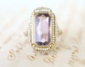 1920's Art Deco / antique Amethyst and Seed Pearls / 10k White Gold Filigree engagement ring // THISTLE