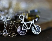Bicycle Necklace Bicycle Charm Whiskey Quartz Moss Aquamarine Sterling Silver Oxidized Gray