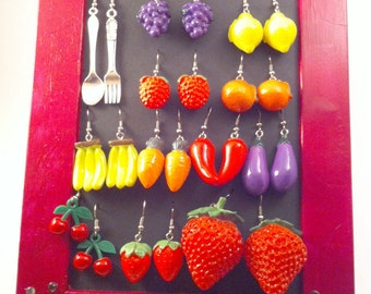 SALE Fashion vintage Handmade earrings with FRUITS and VEGETABLES!!! So original and stylish!!!
