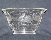 Vintage Etched Embossed Heavy Clear Glass Sherbert Bowl Elegant Beauty