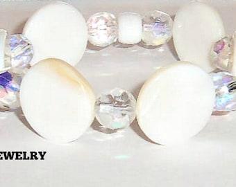 "Women's Bracelet:Mother of Pearl and Swarovski Elements   ""I Am Worthy """