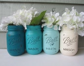 Painted and Distressed Ball Mason Jars-Turquoise/Teal/Aqua Ombre-Cream Flower Vases, Rustic Wedding, Centerpieces