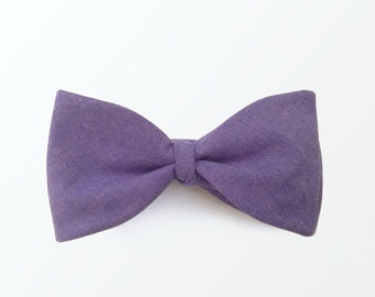 Self Tie Bowtie, Purple Plum Chambray Bow Tie for Men, Wedding and Gift for Him / READY TO SHIP