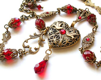 Victorian Heart Locket Pendant - Ruby Swarovski Crystals Necklace - Victorian Jewelry