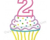 Instant Download - Second Birthday Cupcake Design - Cupcake with Number 2 Embroidery Applique Design Digital File 4x4, 5x7, 6x10 hoop sizes