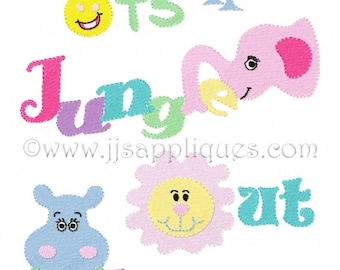Instant Download - Zoo Animal Designs Jungle Animals Embroidery Design - It's A Jungle Out There 4x4, 5x7, 6x10 hoops
