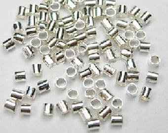 100 Silver color, 2.5 x 2.5mm, Tube Crimp Beads