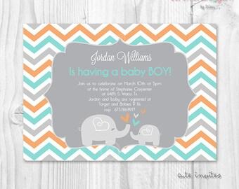 Baby shower boy or girl elephant chevron aqua and orange printable invitation